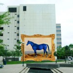 Rendering of the big Big Lex oil painting installed in downtown Lexington.