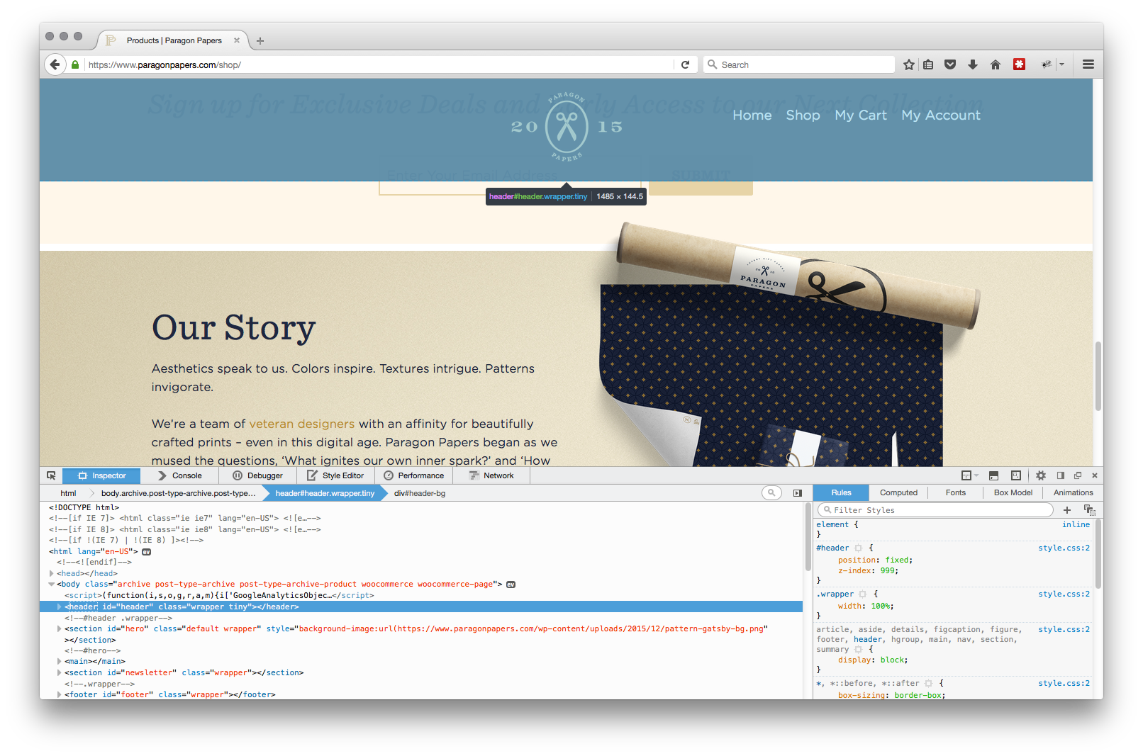 Firefox web inpector