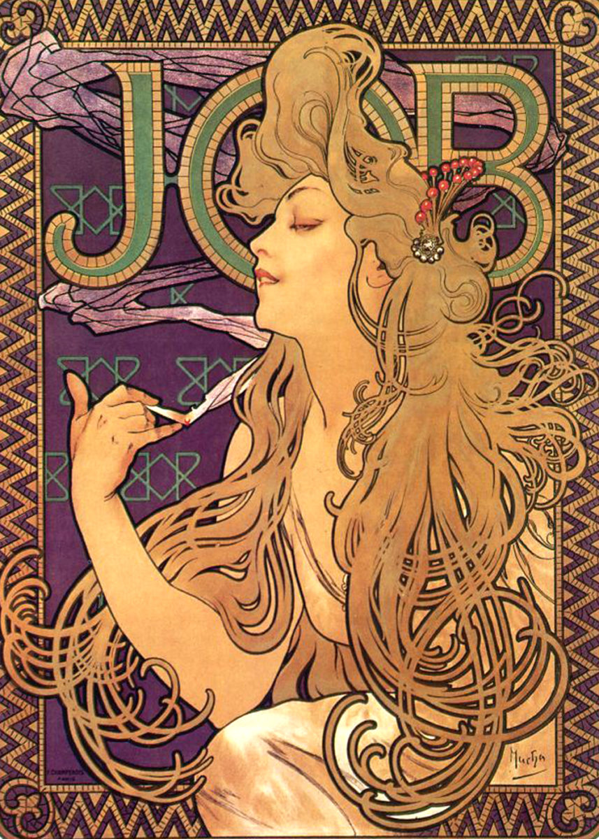 Advertisement for Job Cigarettes by Alphonse Mucha (1896)